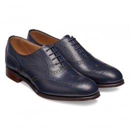 Maisie Ladies Wingcap Oxford Brogue in Navy Calf Leather