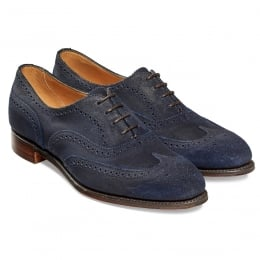 Maisie Ladies Wingcap Oxford Brogue in Navy Split Coupe Leather