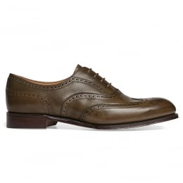 Maisie Wingcap Oxford Brogue in Burnished Olive Calf Leather