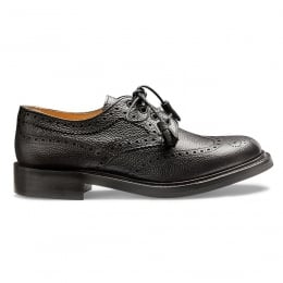 Marianne Ladies Tassel Derby Brogue in Black Grain Leather