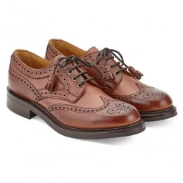 Marianne Ladies Tassel Derby Brogue in Mahogany Grain Leather