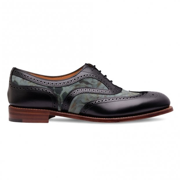 Cheaney Mary Two Tone Oxford Brogue in Black Calf/Teal Floral Suede