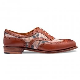 Mary Two Tone Oxford Brogue in Chestnut Calf/Pink Floral Suede