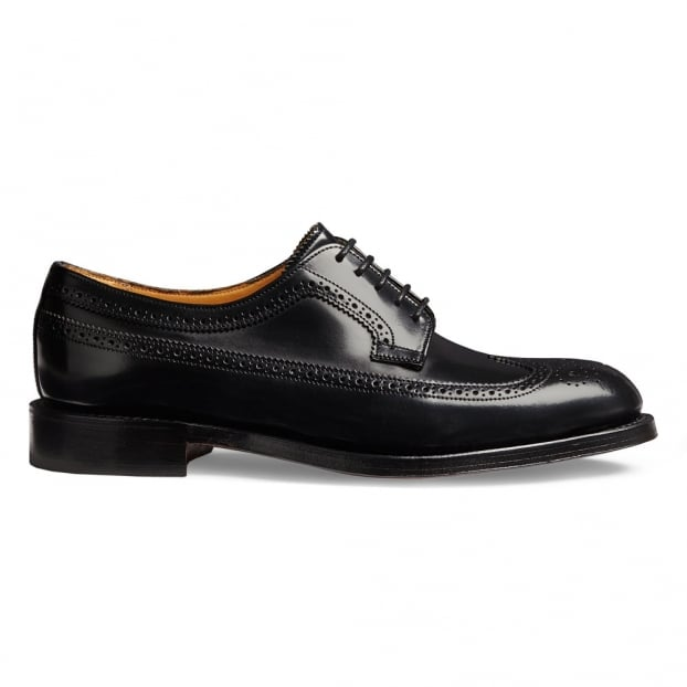 Cheaney Maude Ladies Brogue in Black Hi-Shine Leather