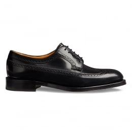 Maude Ladies Brogue in Black Hi-Shine Leather