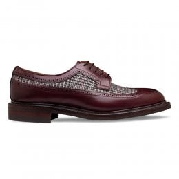 Maude R Long Wing Brogue in Burgundy Calf Leather/Prince of Wales Check