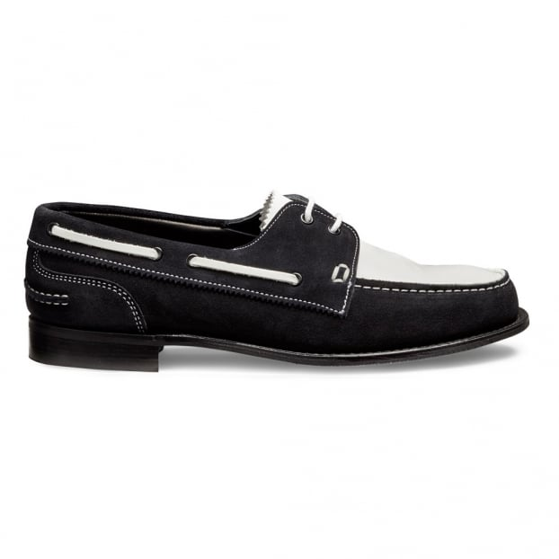 Cheaney Maverick D Boat Shoe in Dark Navy/White Castoro Suede