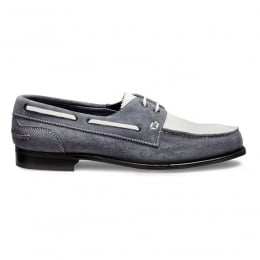 Maverick D Boat Shoe in Denim/White Castoro Suede