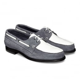 Maverick D Nautically Inspired Shoe in Denim/White Castoro Suede