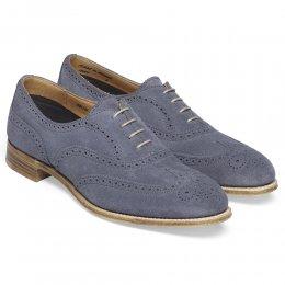 May Ladies Oxford Brogue in Denim Blue Suede