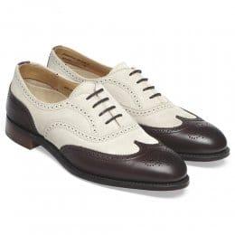 May Ladies Oxford Brogue in Lavanda Beige Suede/Truffle Calf Leather