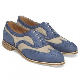 Milly Ladies Oxford Brogue in Blue Nubuck/Sand Canvas