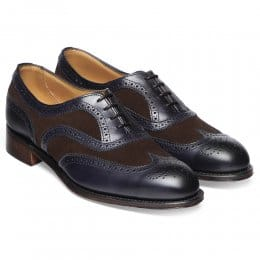 Milly Ladies Oxford Brogue in Burnished Navy/Plough Suede