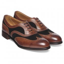 Milly Ladies Oxford Brogue in Conker Calf/Brown Suede