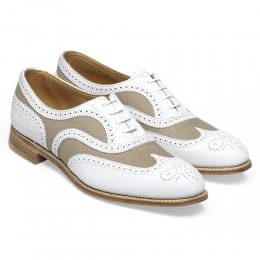 Milly Ladies Oxford Brogue in White Nubuck/Sand Canvas