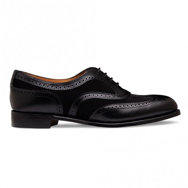 Cheaney Milly Oxford Brogue in Black Calf Leather/Black Suede