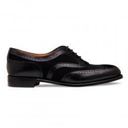 Milly Oxford Brogue in Black Calf Leather/Black Suede