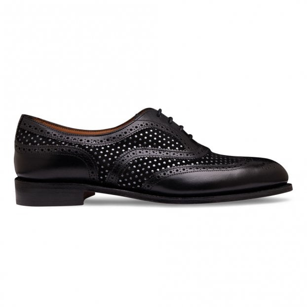 Cheaney Milly Oxford Brogue in Black Calf Leather/Bora Punto Suede