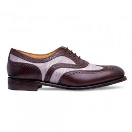 Milly Oxford Brogue in Burgundy Calf Leather/Grey Suede
