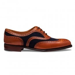 Milly Oxford Brogue in Chestnut Calf Leather/Navy Suede