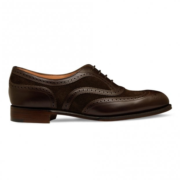 Cheaney Milly Oxford Brogue in Mocha Calf Leather/Pony Suede