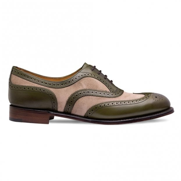 Cheaney Milly Oxford Brogue in Olive Calf Leather/Mink Suede