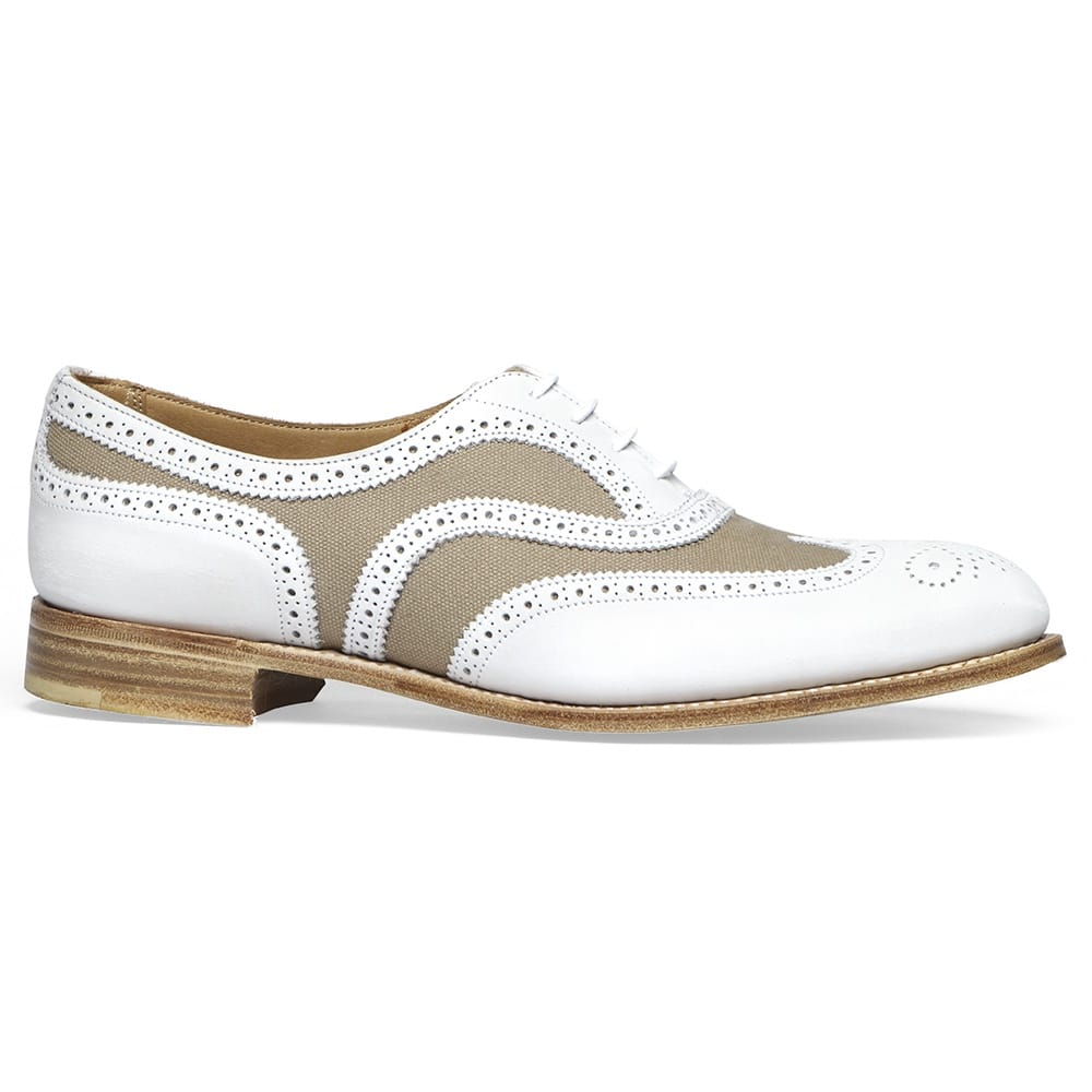 76f389fbac00e Cheaney Milly| White Nubuck/Sand Canvas Oxford Brogue | Made In England