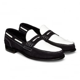 Mirage D Loafer in Dark Navy/White Castoro Suede