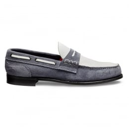 Mirage D Loafer in Denim/White Castoro Suede