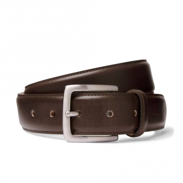 Cheaney Mocha Brown Belt with Silver Buckle