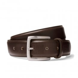 Mocha Brown Belt with Silver Buckle
