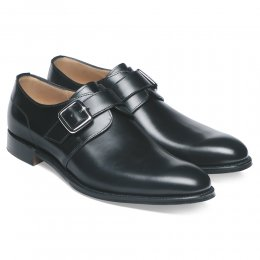 Moorgate Plain Buckle Monk Shoe in Black Calf Leather