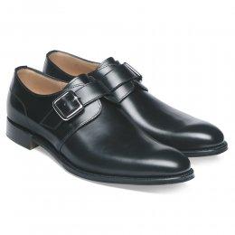 Moorgate Plain Buckle Monk Shoe in Black Calf Leather