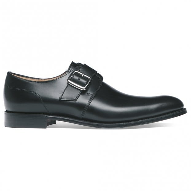 Cheaney Moorgate Plain Buckle Monk Shoe in Black Calf Leather