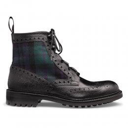 Moray C Ghillie Brogue Boot in Black Grain Leather/Black Watch Fabric