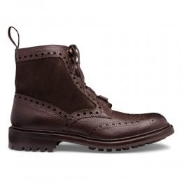 Moray C Ghillie Brogue Boot in Walnut Grain Leather/Pony Suede