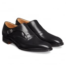 Moulton Long Strap Monk in Black Calf Leather