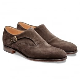 Moulton Long Strap Monk in Brown Soft Suede