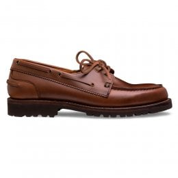 Newlyn Boat Shoe in Ginger Pull Up Leather