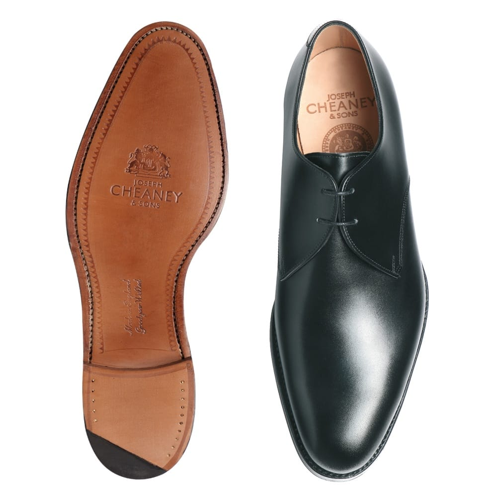 Cheaney Old Men S Black Leather Derby Shoe Handmade In