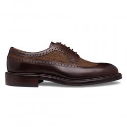 Oliver III R Longwing Brogue in Mocha Calf Leather/Herringbone Fabric