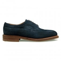 Oliver III R Longwing Brogue in Navy Suede