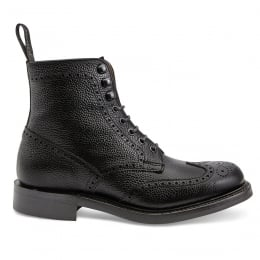 Olivia R Wingap Brogue Boot in Black Grain Leather