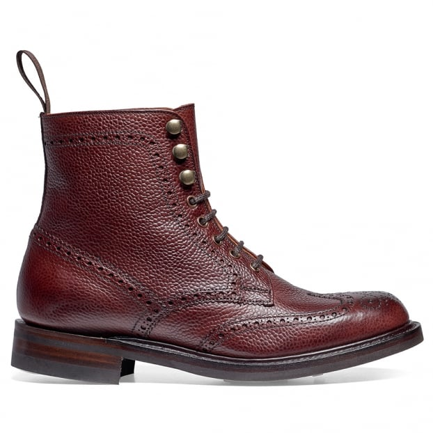 Cheaney Olivia R Ladies Wingap Brogue Boot in Burgundy Grain Leather
