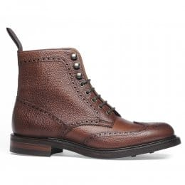 Olivia R Ladies Wingap Brogue Boot in Mahogany Grain Leather