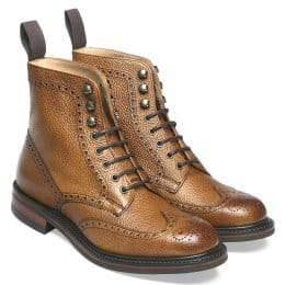 Olivia R Ladies Wingap Brogue Country Boot in Almond Grain Leather