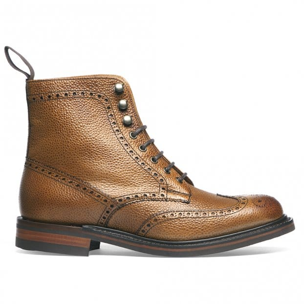 Cheaney Olivia R Wingap Brogue Boot in Almond Grain Leather