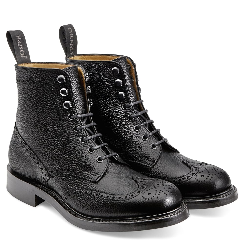 Olivia R Wingap Brogue Boot in Black Grain Leather 7716ff4d8