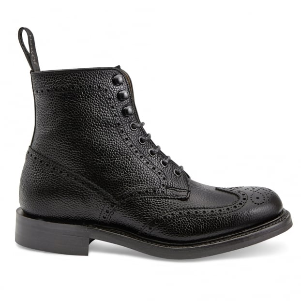 Cheaney Olivia R Wingap Brogue Boot in Black Grain Leather