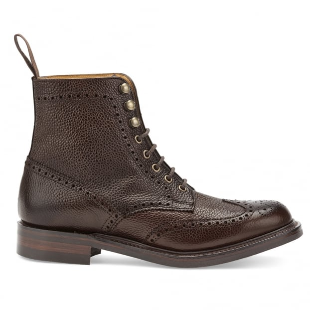 Cheaney Olivia R Wingap Brogue Boot in Walnut Grain Leather